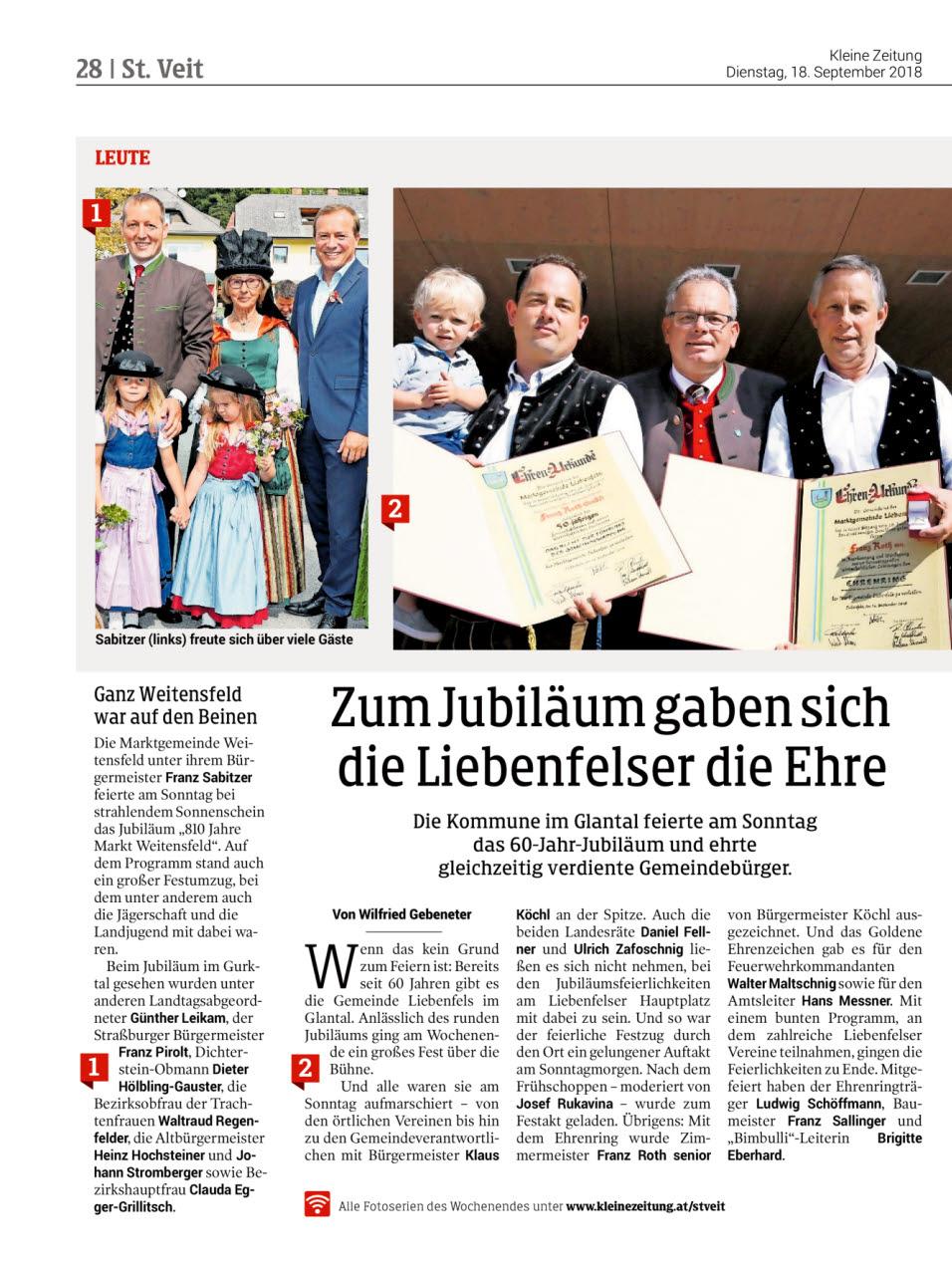 Kleine Zeitung - Bericht - 60 Jahr Jubiläum Zimmerei Roth