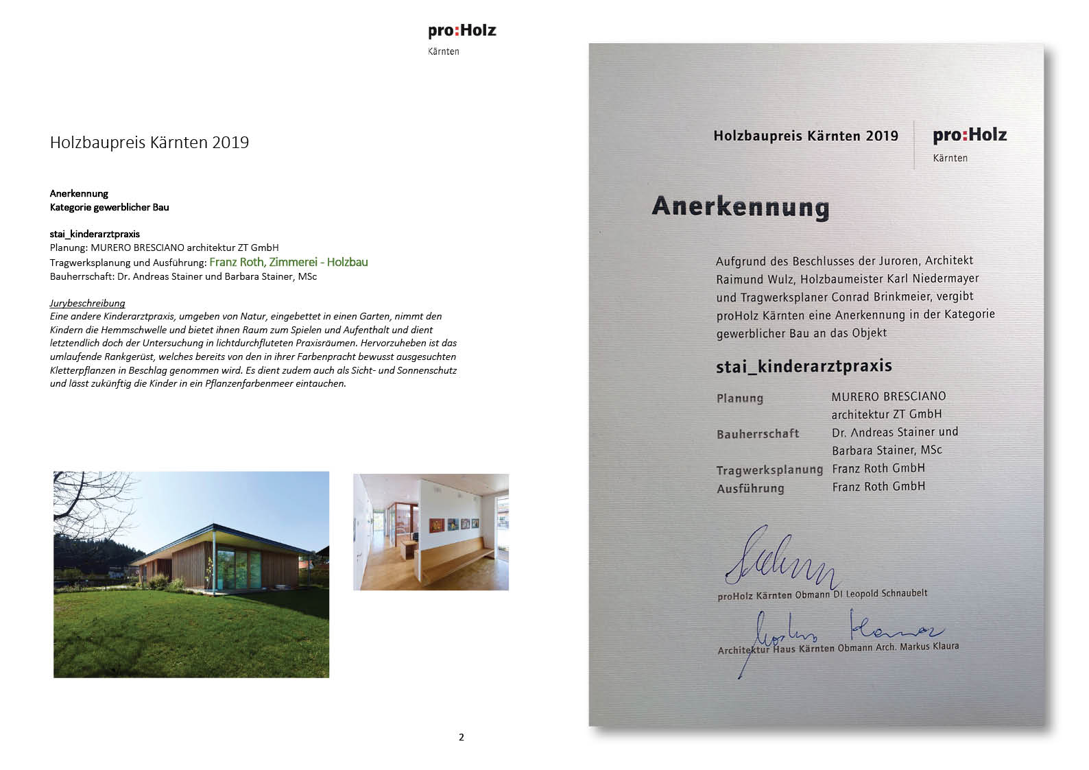 Annerkennung Holzbaupreis 2019